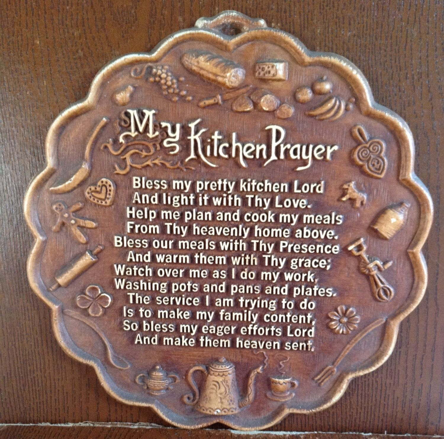 Kitchen Blessing Wall Decor: Vintage - MY KITCHEN PRAYER - Plaque, Wall Hanging