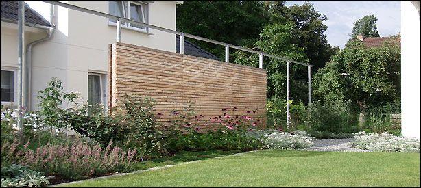 Holz Sichtschutz Wand Mit Stahl Pergola