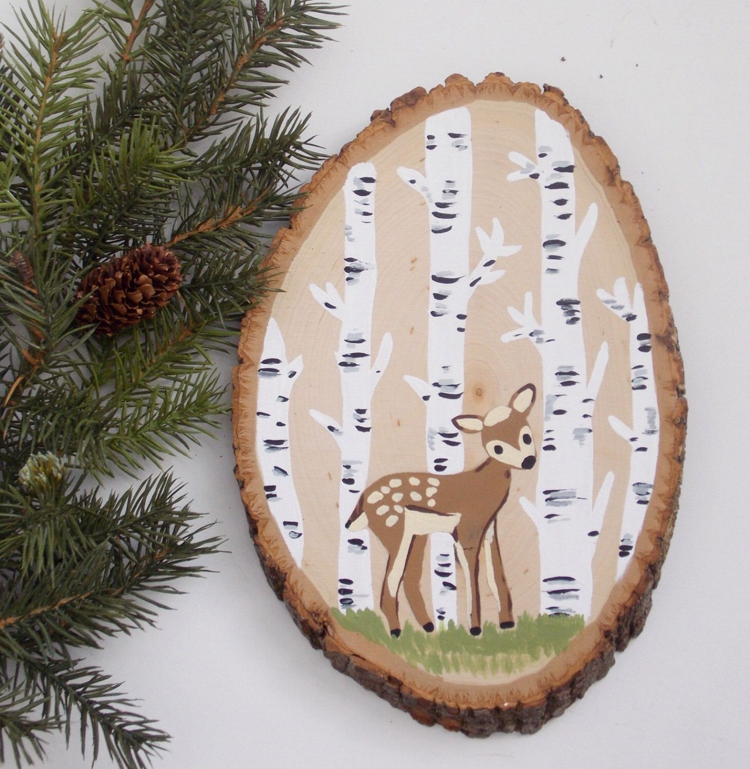 Deer wood sign hand painted wood slice deer nursery art wall art