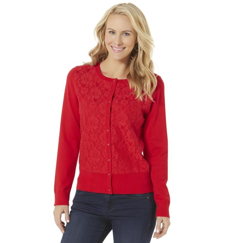 Covington Womens Lace Cardigan Sweater long sleeves rayon ...