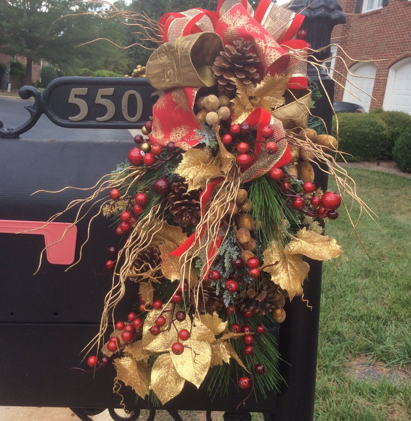 ornaments and curb christmas by decorating your increase bows pin mailbox s ornament decorations decor appeal home with greenery