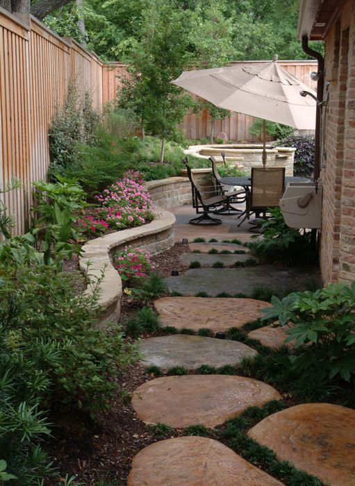 Lovely side yard with that formed concrete path. Bonick ... on Side Yard Path Ideas id=60633