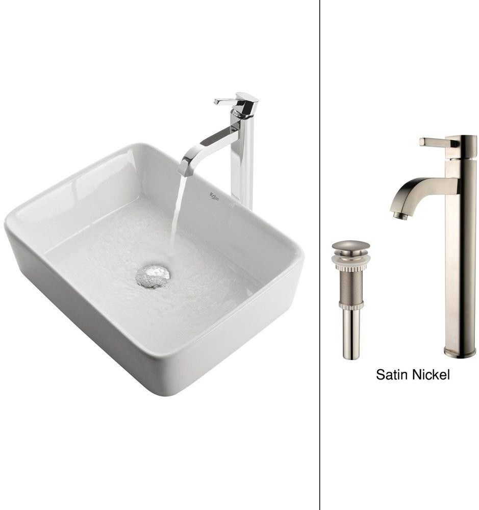 Ceramic White Vessel Sink and Satin Nickel Faucet Combo Rectangle ...