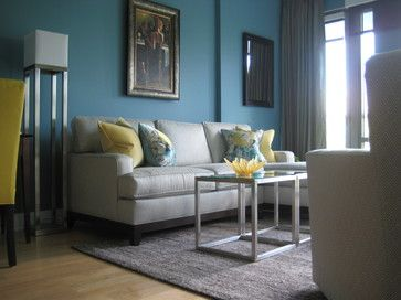 Light Grey Sectional With Teal And Yellow Accessories   Google Search