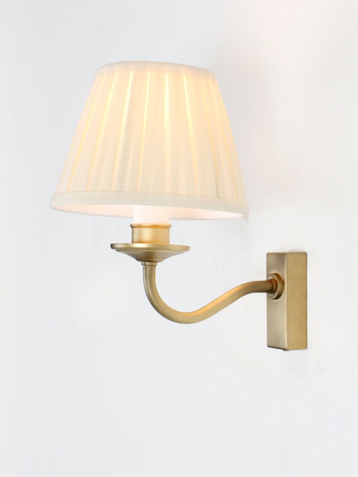 Brass effect wall light with a classic brass wall box finished with brass effect wall light with a classic brass wall box finished with tapered cream cone shade aloadofball Images