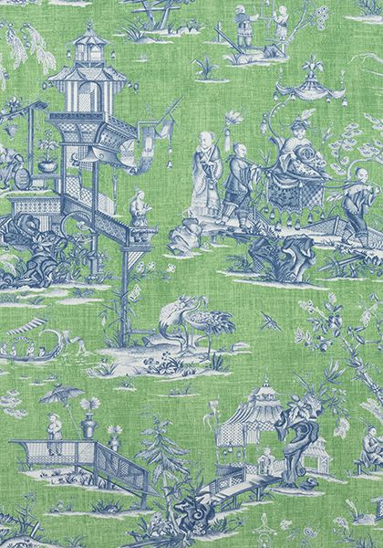 CHENG TOILE, Green and Blue, F975467, Collection Dynasty