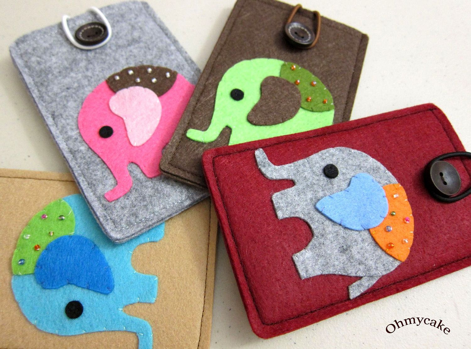 "iPhone Case - Cell Phone Case - iPhone 4 Case - iPod Case - iPod Touch Case - Handmade iPhone Felt Case - "" Green Elephant "" Design. $18.00, via Etsy."