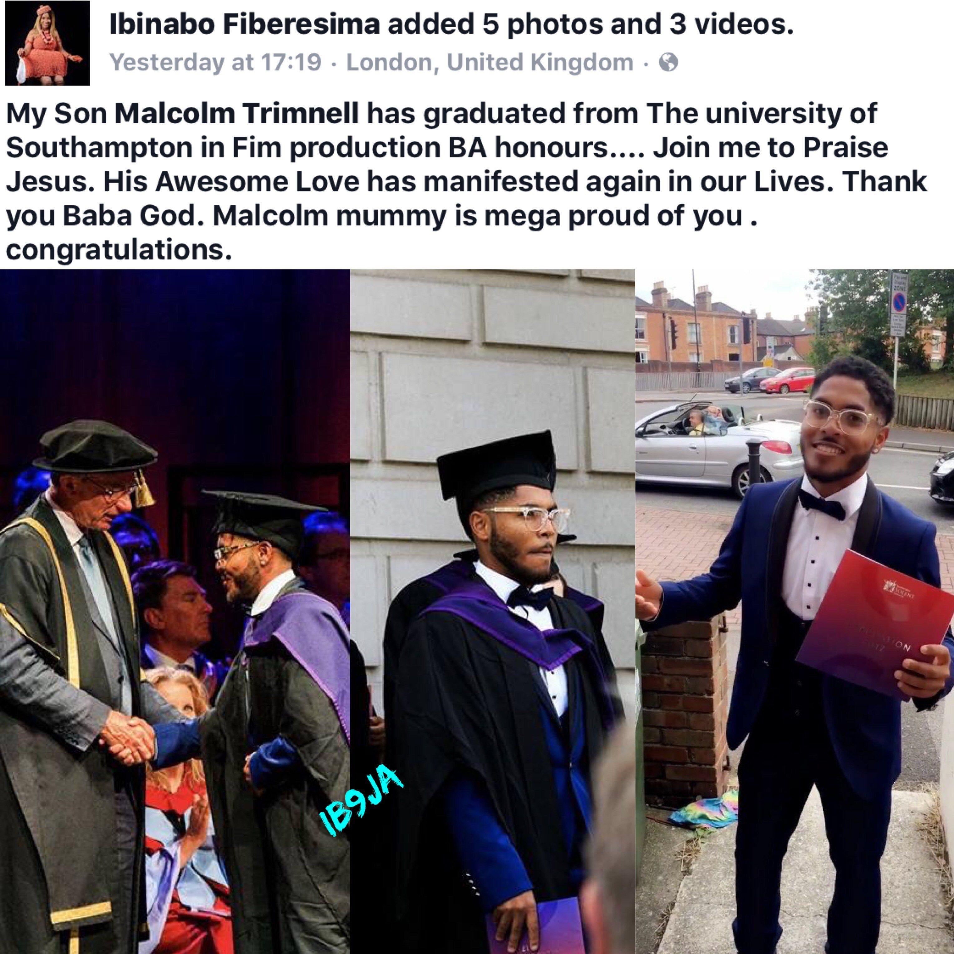 Actress Ibinabo Fiberesimas Son Malcom Graduates From The University Of Southampton University Of Southampton Malcom News In Nigeria