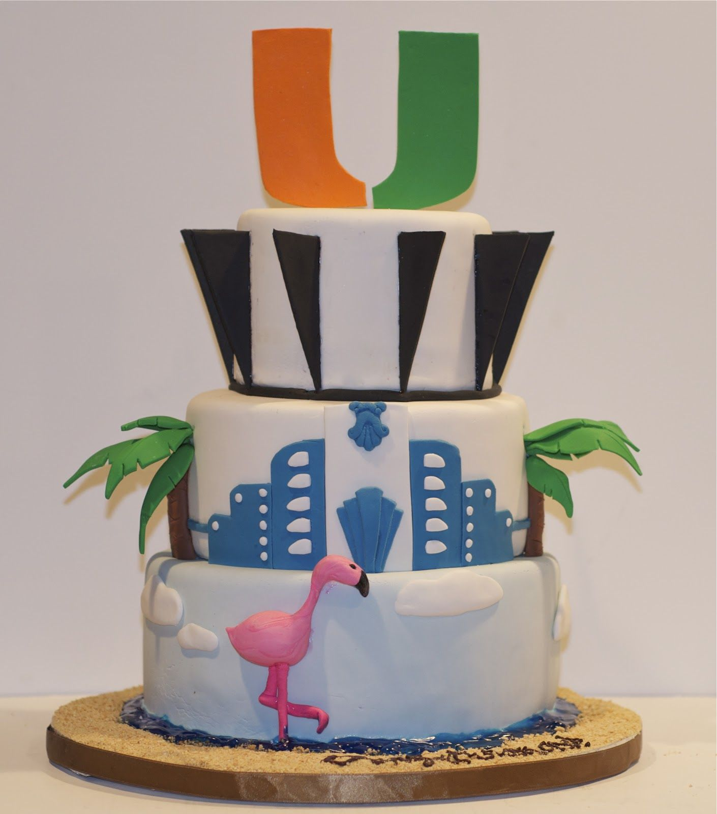 Peachy Graduation Cake University Of Miami With Images Cake Funny Birthday Cards Online Hendilapandamsfinfo