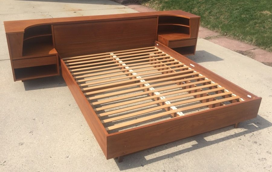 Used Vintage Danish Mid Century Modern Teak Queen Bed Frame With