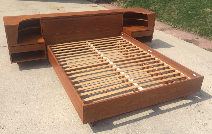 Vintage Danish Mid Century Modern Teak Queen Bed Frame With