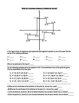 This Worksheet Provides Practice With Skills Necessary For Solving Problems Involving Coordinate Geometry On The Sat Coordinate Geometry Sat Math Coordinates