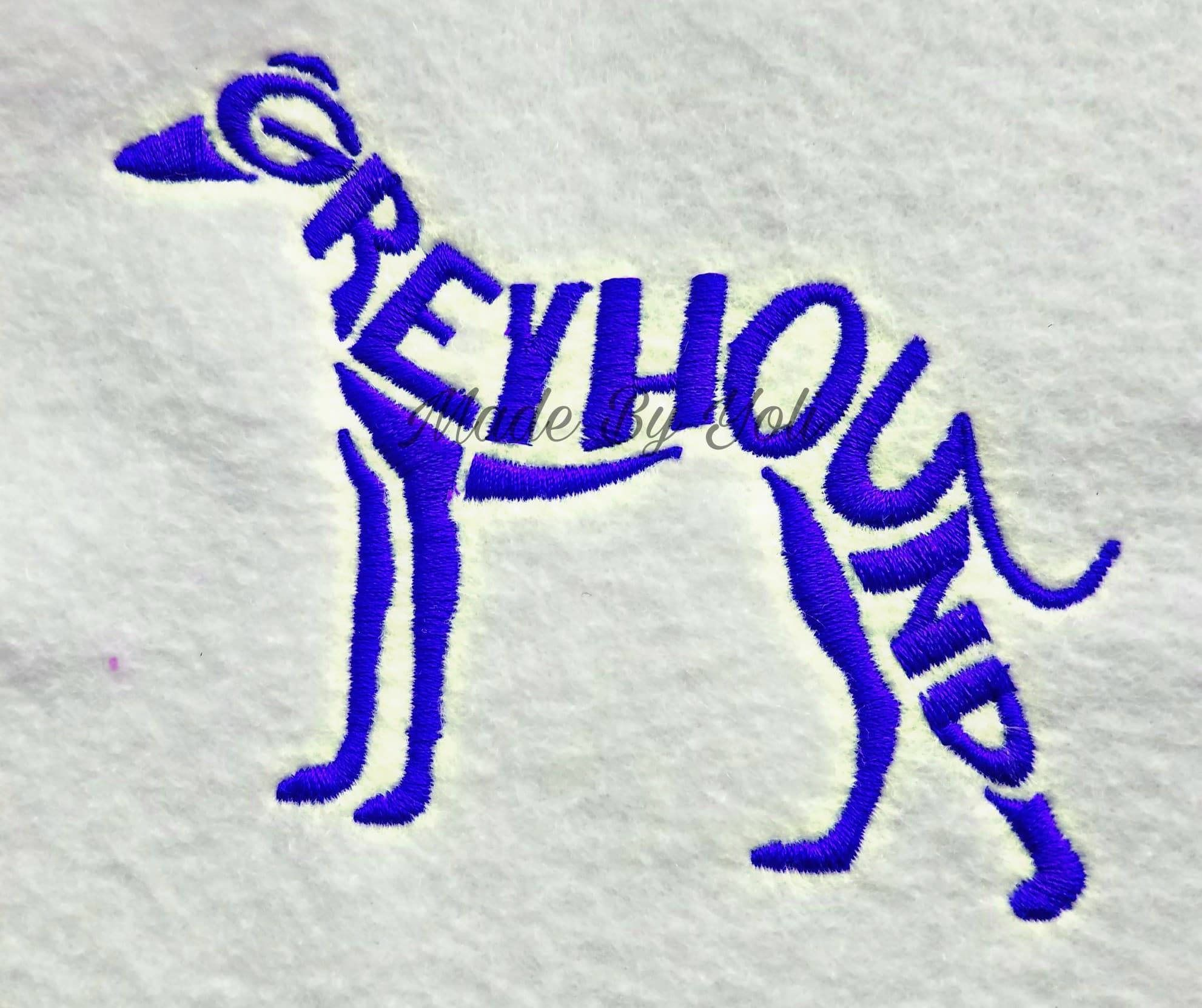 Embroidery Design Digitized Greyhound Text Fill 5 x 7 by MadeByYoli