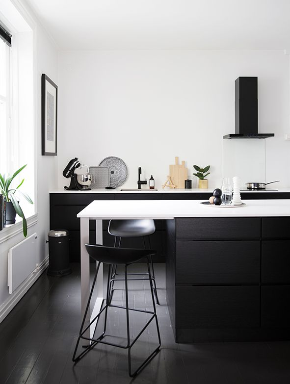 From the home of Marthe Høegh Skagen in Oslo. Black kitchen, kvik, monochrome interior