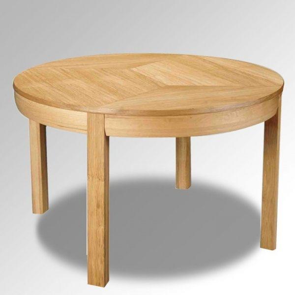 table ronde en bois massif avec