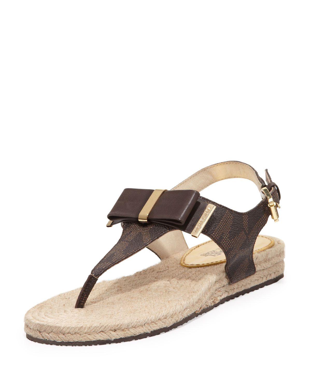 47b95524133 MICHAEL Michael Kors Meg Logo Bow Thong Sandal, Size: 37.0B/7.0B, Brown