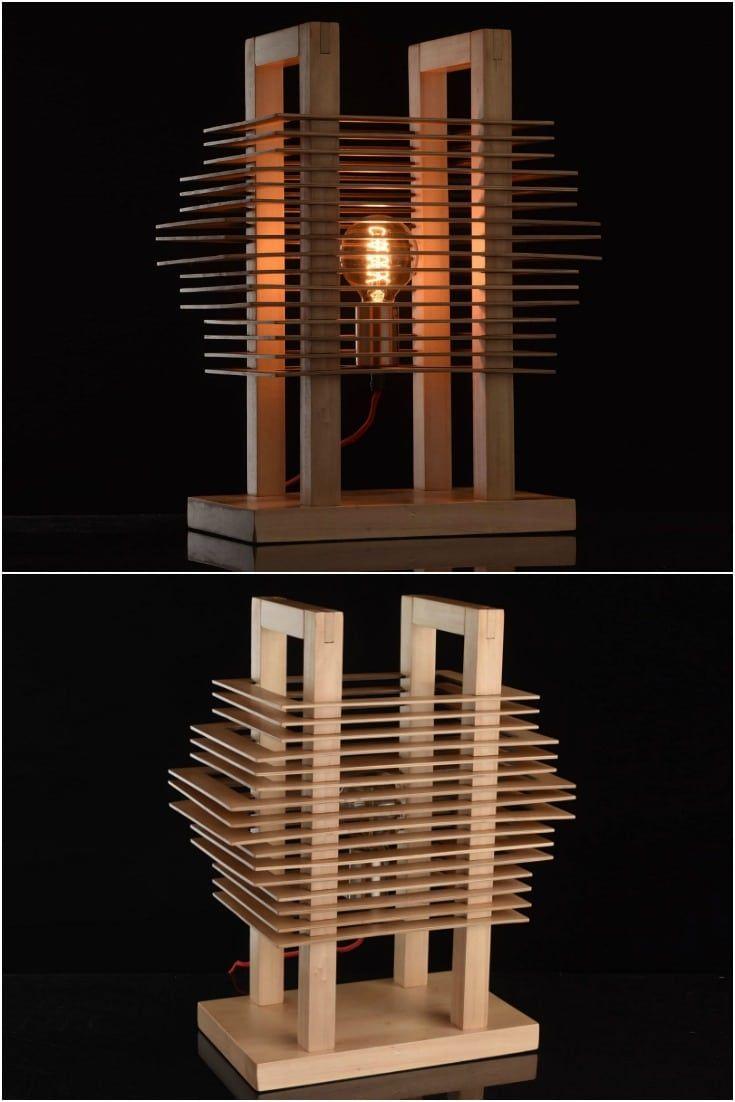 Cute Wooden Slices Table Lamp - Desk Lamps - Technical characteristics: Table lamp CHIARO #tablelamp #woodlamp #designlamp #design #handmade