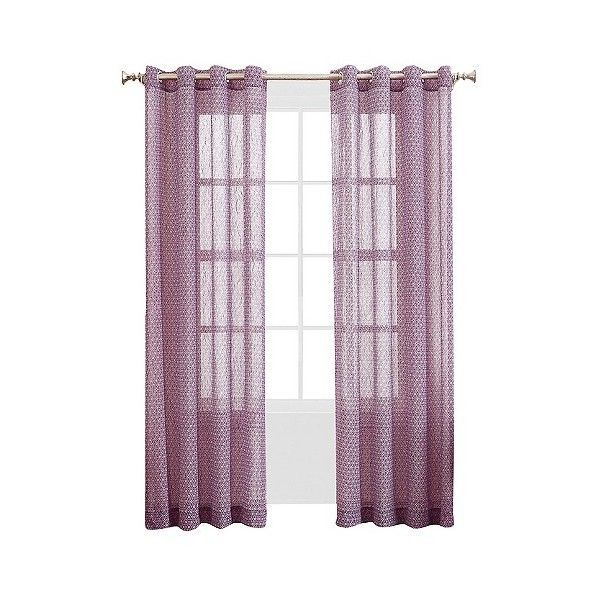 No Rosiclare Printed Crush Voile Curtain Panel Grape 19