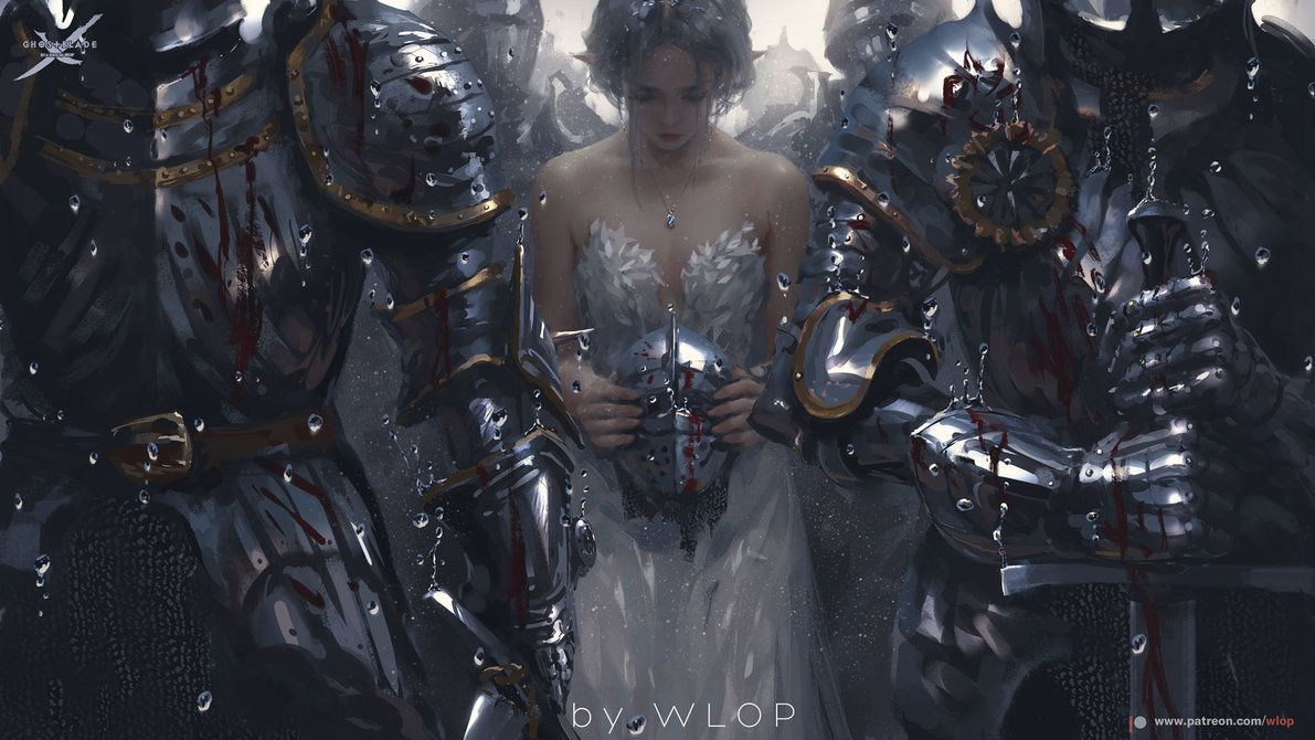 Sacrifice2 By Wlop 4k Wallpaper Original File Brush Set And Painting Process Video Will Be Provided To Supporters On Fantasy Artwork Fantasy Art Amazing Art