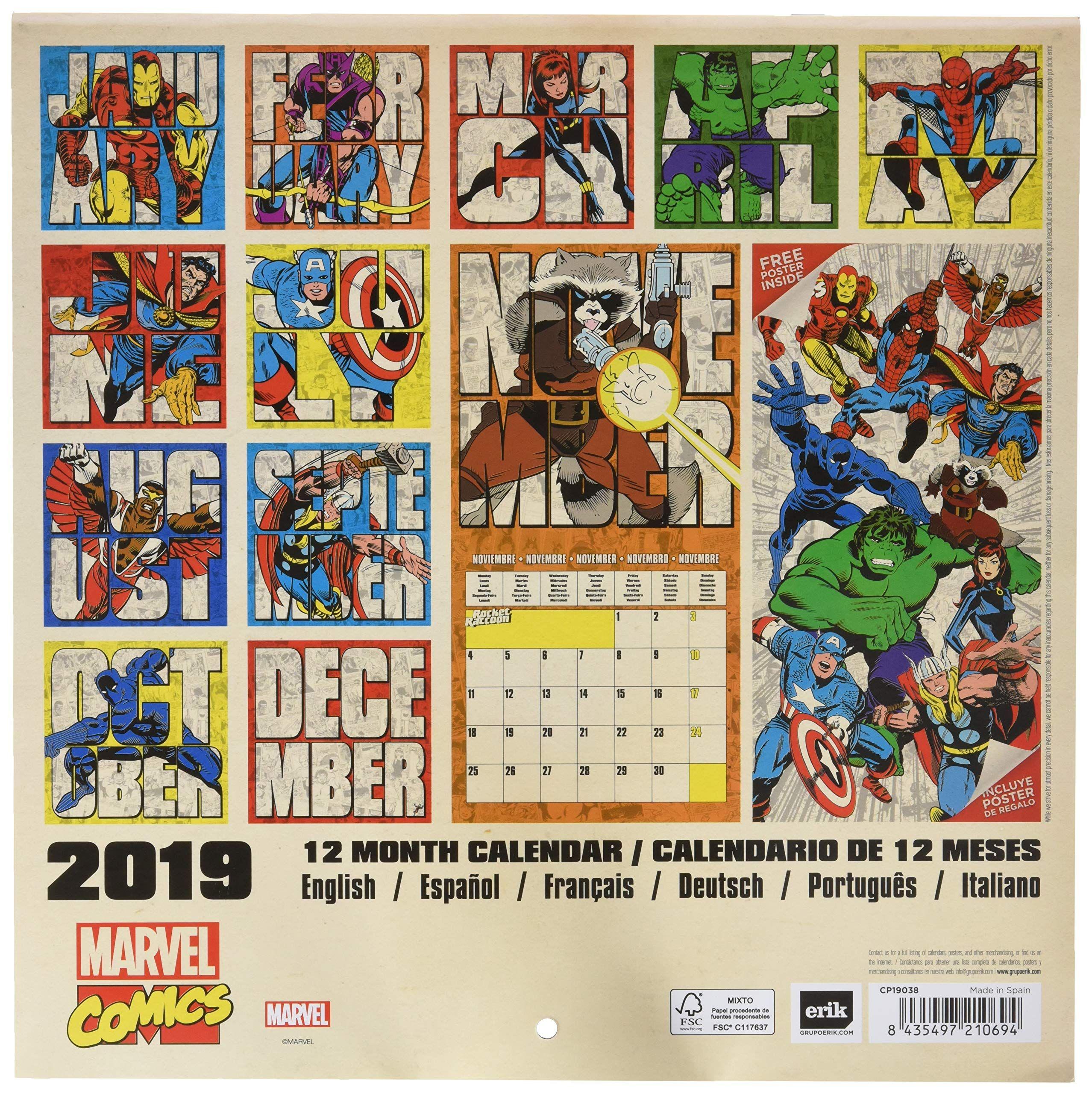 Calendario Romena 2019.Grupo Erik Calendario Da Muro 2019 Marvel Comics 30 X 30
