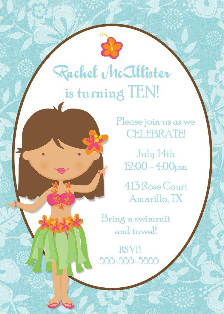 Hula Girl Birthday Invitation Printable Digital by PhotoGreetings ...