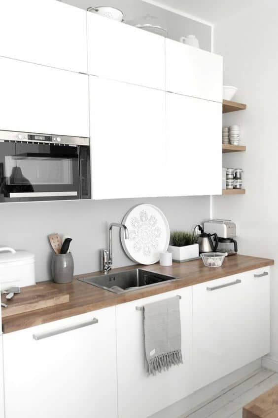 Cocinas Combinadas En Dos Colores 35 Ideas Cocina Blanca Y Madera Decoracion De Cocina Diseno Muebles De Cocina