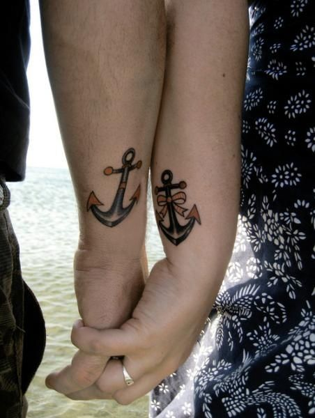 142b1c060 Anchor Couple Tattoo Design...seriously love this, but on my foot or ankle ...: