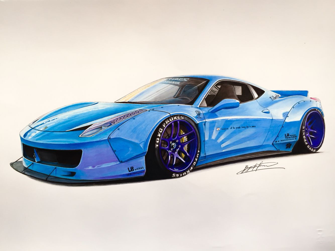 Ferrari Lb In Baby Blue Drawing Supercar By Filo Pinterest