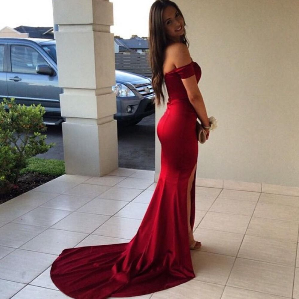Off the shoulder red mermaid prom dresspromevening gown side slit