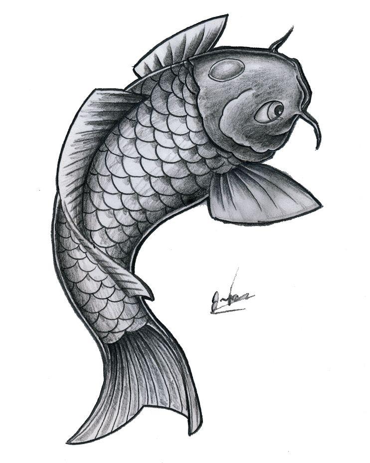 Simple Bnw Koi Fish By Jonasolsenwoodcraft Deviantart Com On Deviantart Koi Fish Tattoo Koi Art Koi Tattoo Design
