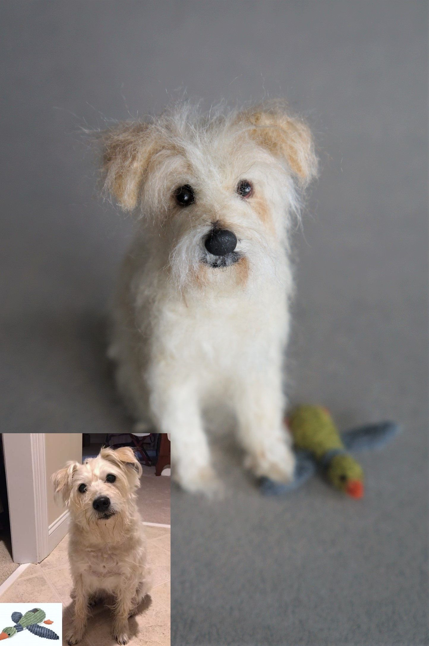 A Needle Felted Cairn Terrier With Its Favaorite Duck Toy