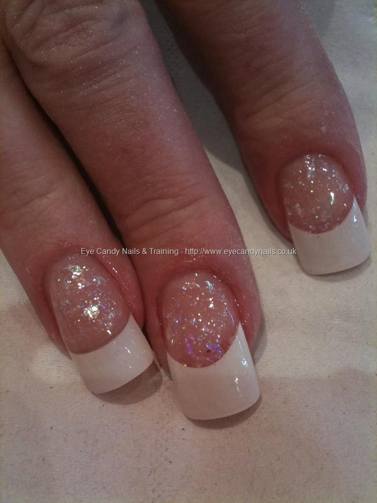 White tips and pink glitter entity powder | Toes & Nails <3 Gel is ...
