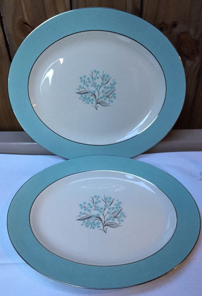 2 Vtg 1950s Sevron Fine China Blue Lace Oval Serving Turkey Platters 15  u0026 13 & 2 Vtg 1950s Sevron Fine China Blue Lace Oval Serving Turkey Platters ...