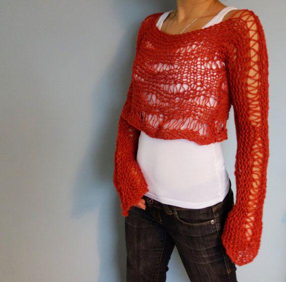 Sweater Knitting Pattern Shredded Crop Sweater Loose Knit Boho
