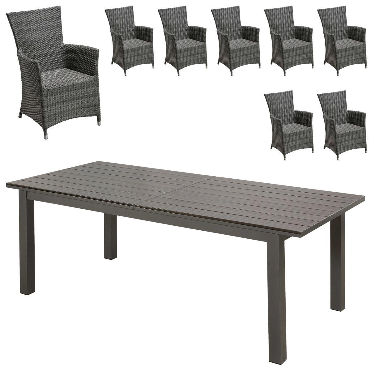 Gartenmöbel Set California/Kansas (1 Tisch, 8 Stühle, ausziehbar