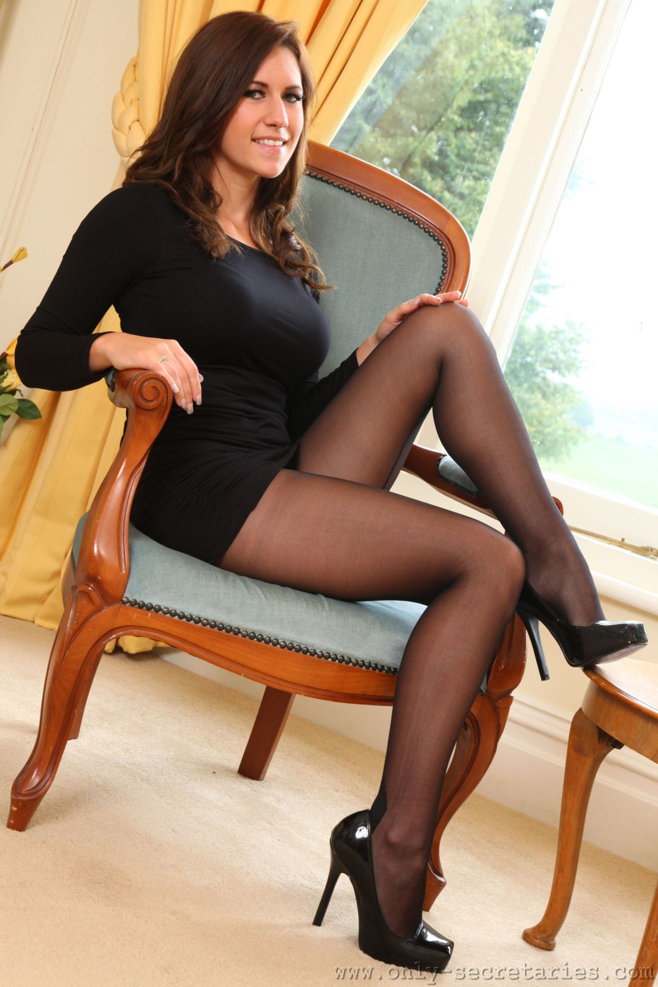 Maybe, crossed legs black stockings pantyhose tights