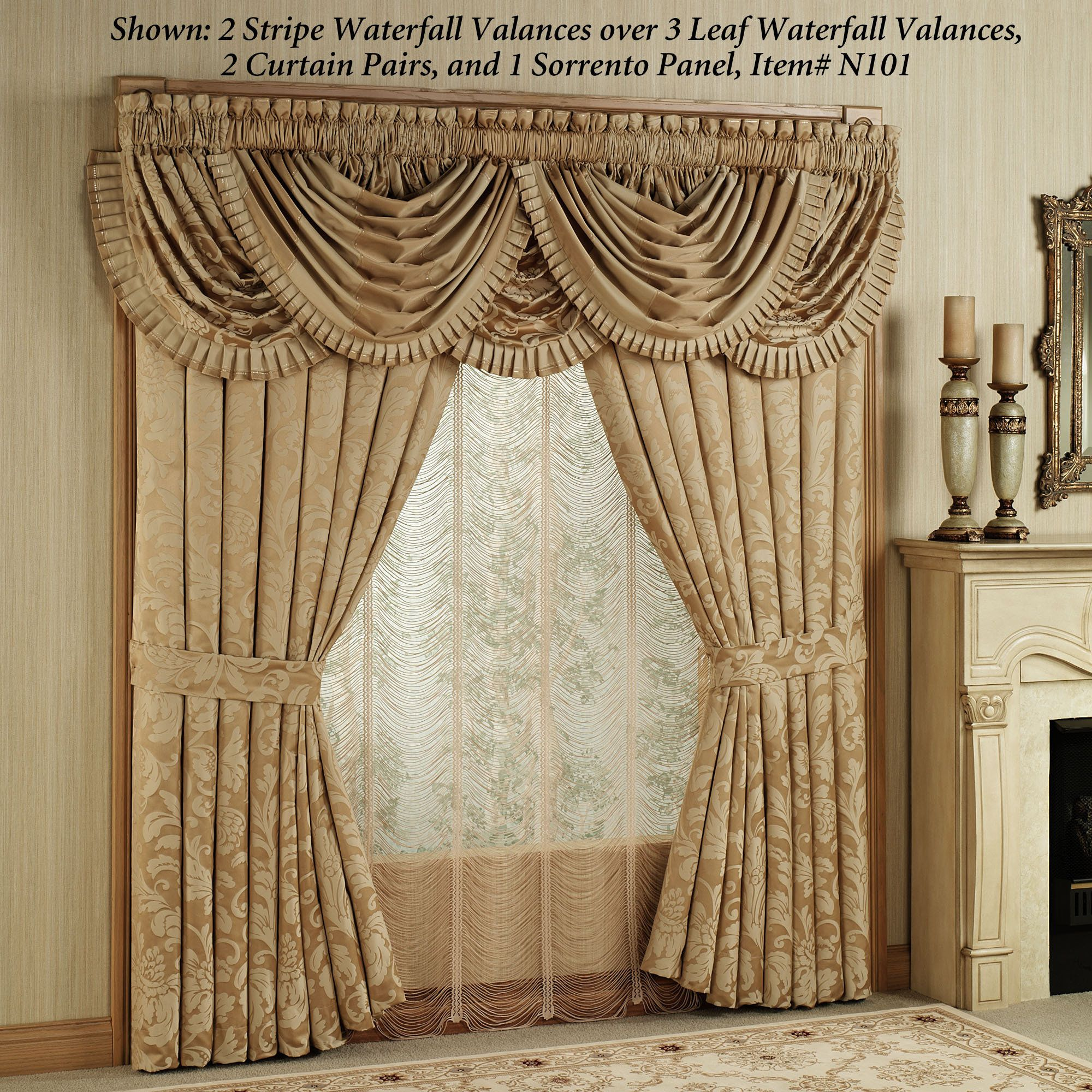 Curtains And Valances Home Regent Gold Leaf Waterfall Valance Antique Gold 42 X 33 Tende