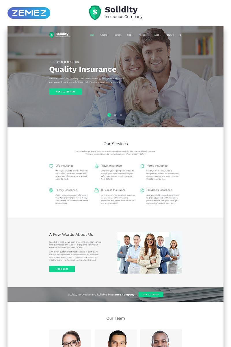 Solidity Insurance Multipage Clean Html Bootstrap Website