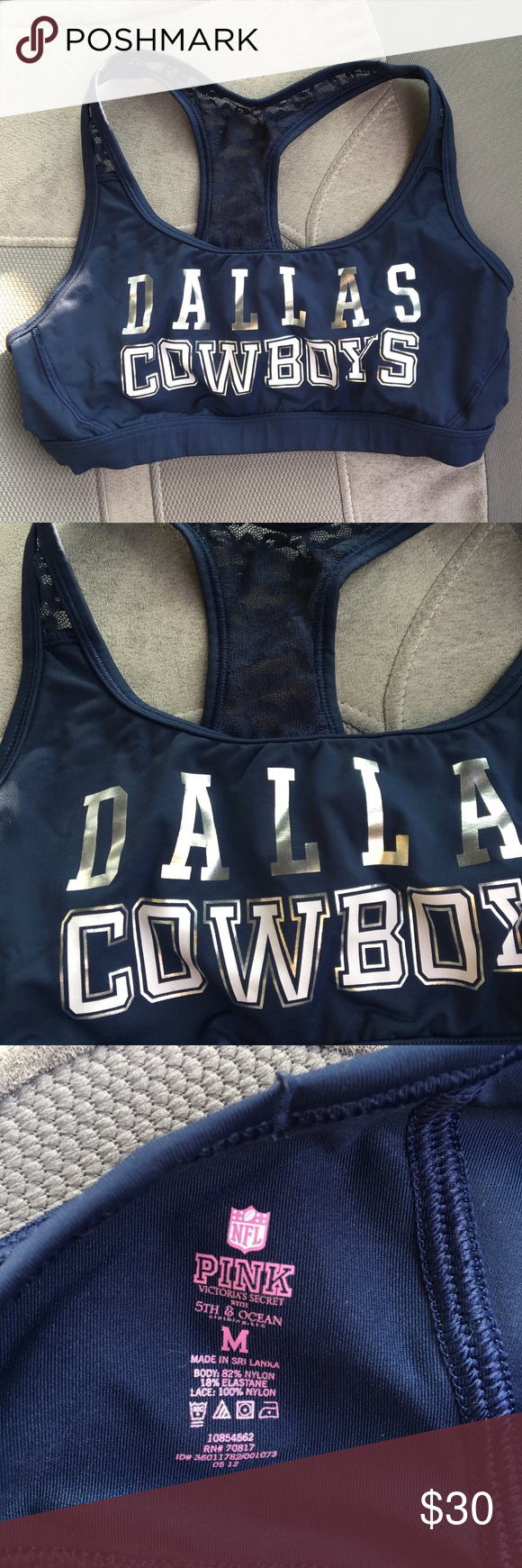 497daa1510  VS Pink  RARE NFL Dallas Cowboys Sports Bra This royal blue sports bra is  in great condition. It is like new and rare