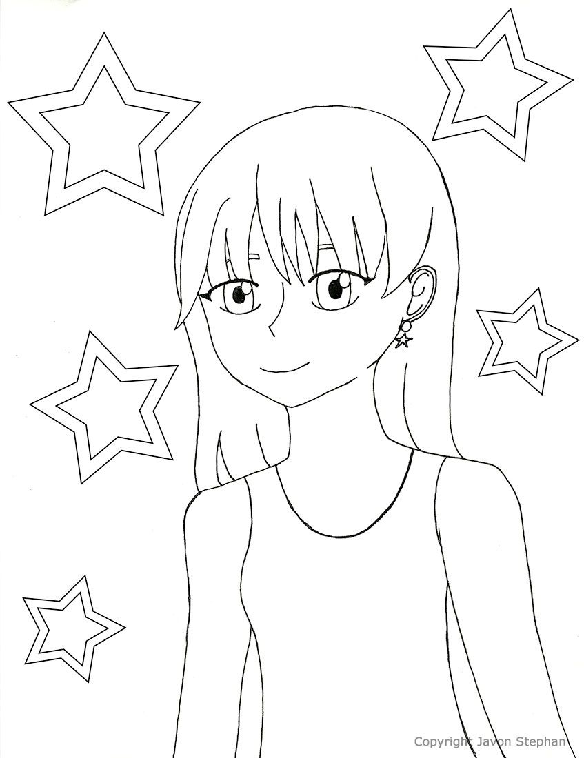 Star Girl Anime Coloring Page Coloring Pages Star Girl Anime