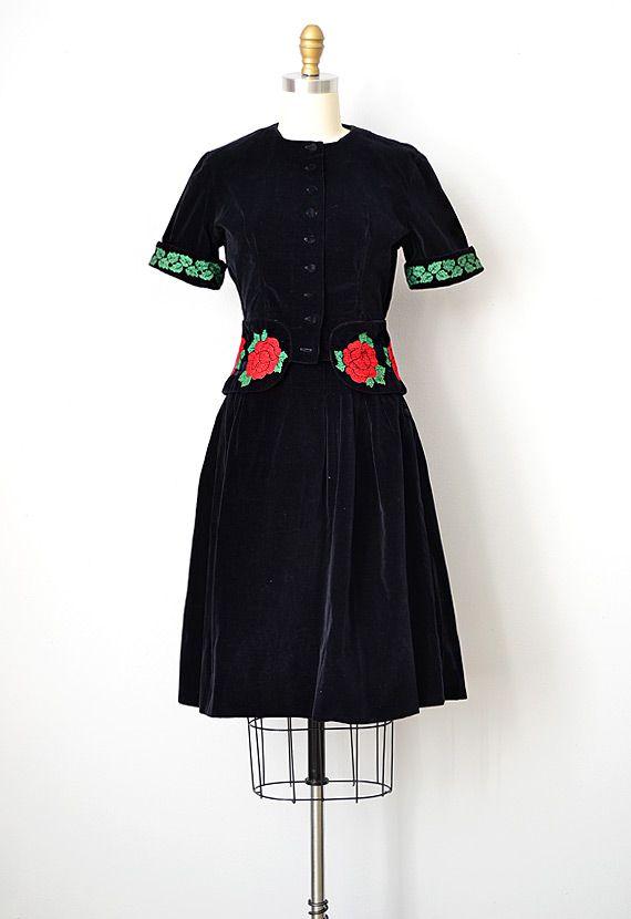 Beautiful 1940s black velvet dress set.
