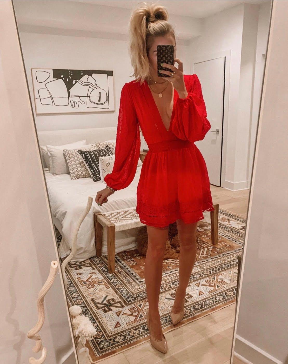 Living In A Dream Burgundy Red Swiss Dot Dress