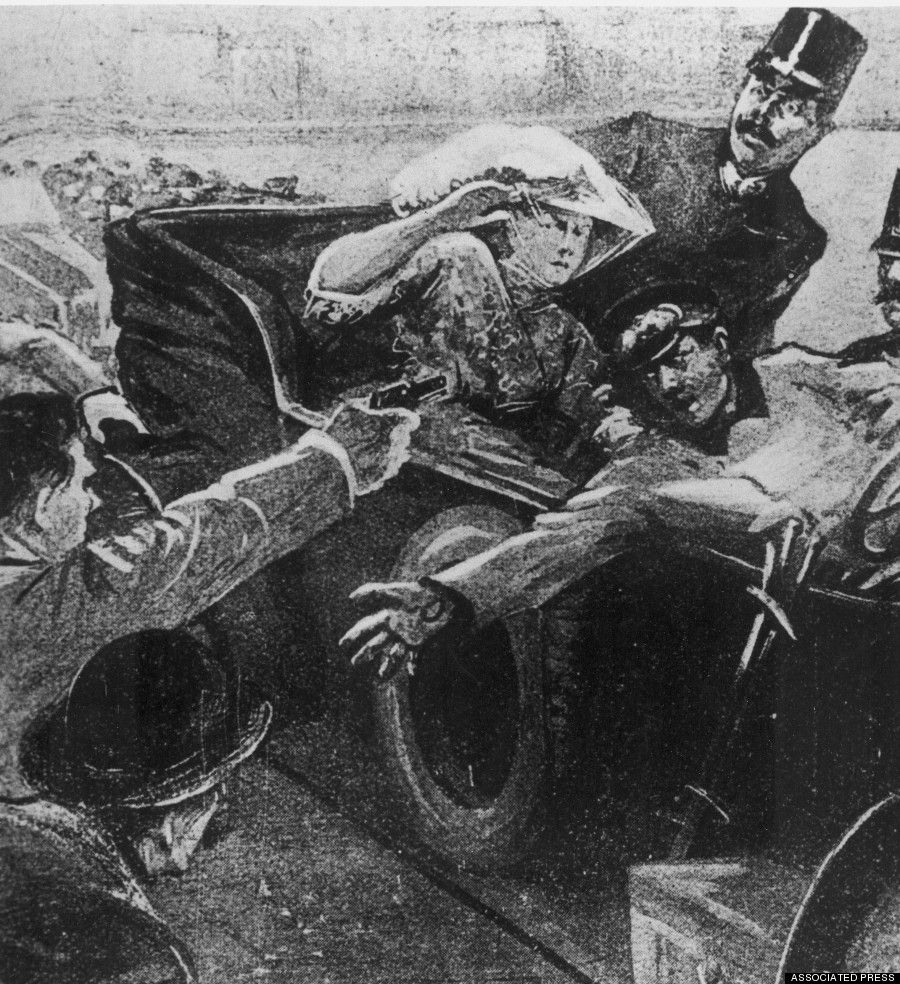 Image result for a picture of ferdinand and wife being assassinated in sarajevo