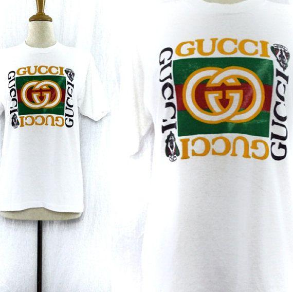 Vintage 90s Bootleg Gucci Screen Stars Puffy Lettering Hip Hop Rap T Shirt Sz L On Etsy 70 00 Rap Tshirts Gucci Bootleg