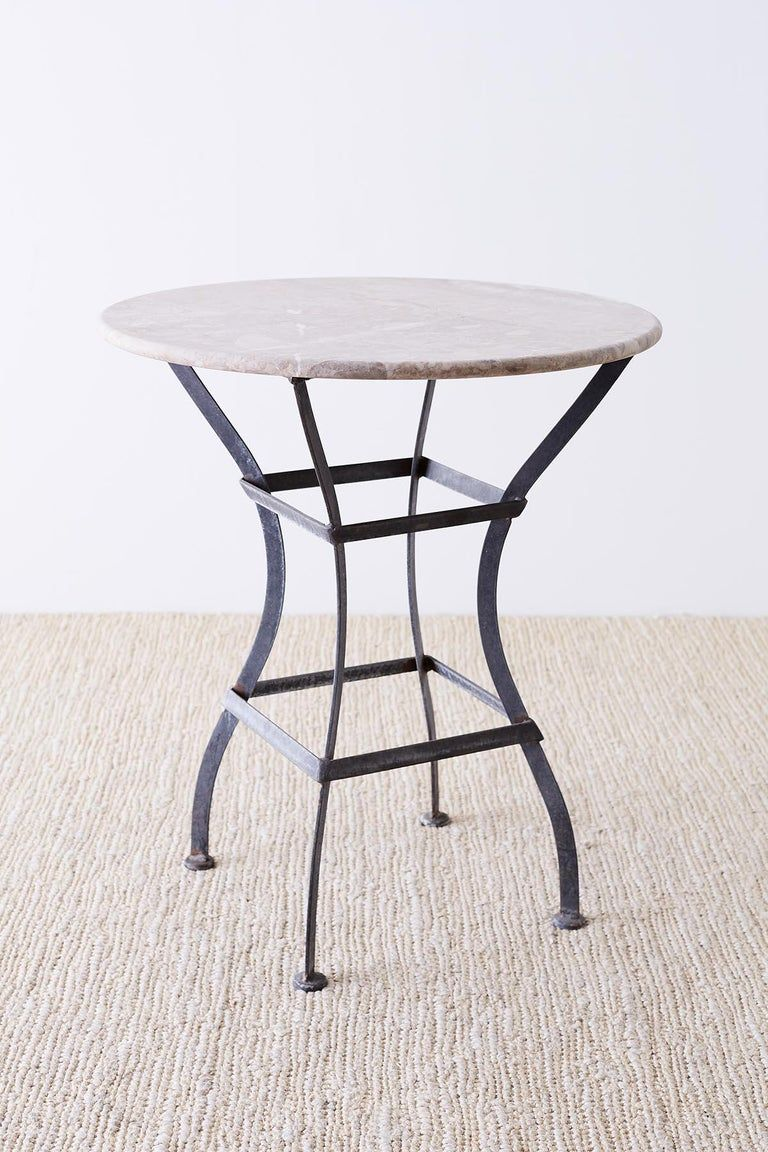 French Iron Stone Top Bistro Or Cafe Table Patio Decor Aluminum Patio Furniture Marble Bistro Table