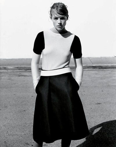 """In Glorious Mono"" -Rosie Tapner by Alasdair McLellan for UK Vogue March 2013"