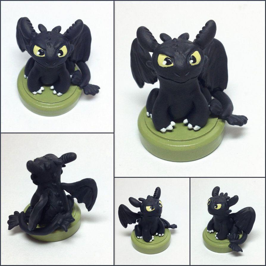 Toothless Miniature Sculpture by LeiliaClay.deviantart.com on @DeviantArt