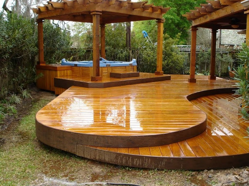 Ideas natural awesome design of the free standing wood for Backyard decks