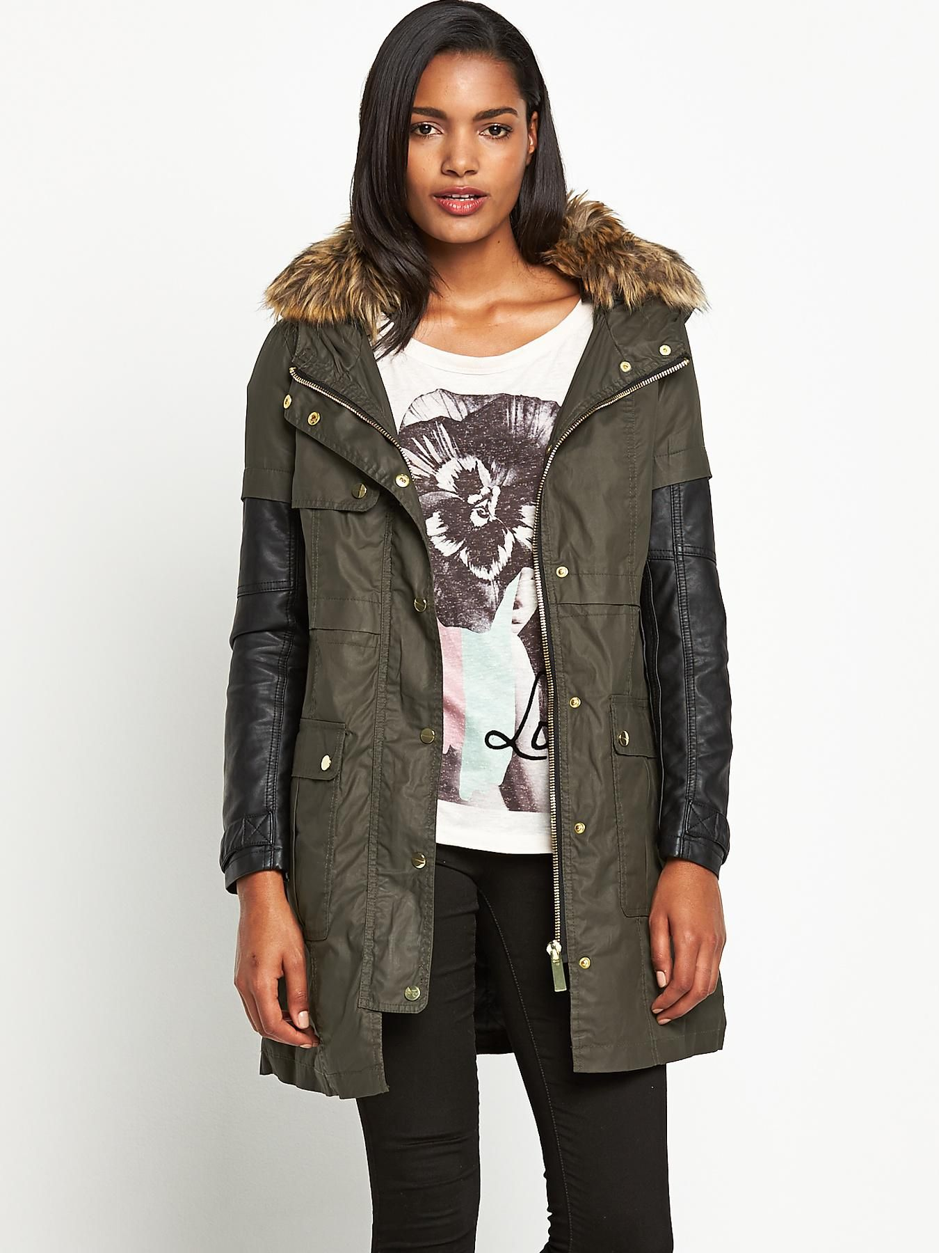 River island wax parka coat