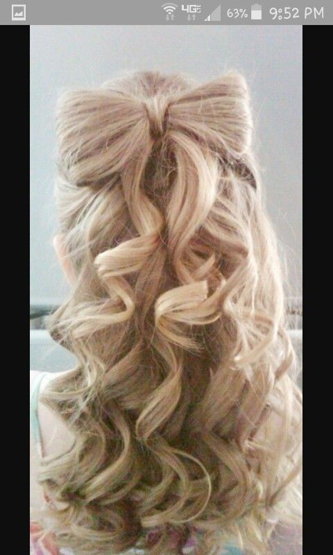 I Personally Thought This Was A Cute Idea For A School Dance Or A Fancy Occasion Hair Styles Curly Homecoming Hairstyles Bow Hairstyle